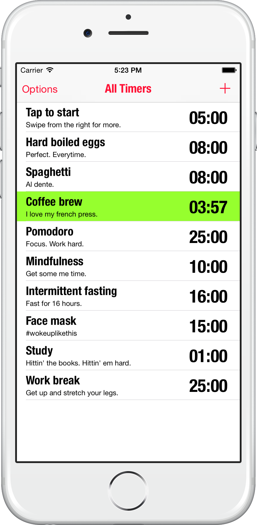 All Timers app for iOS