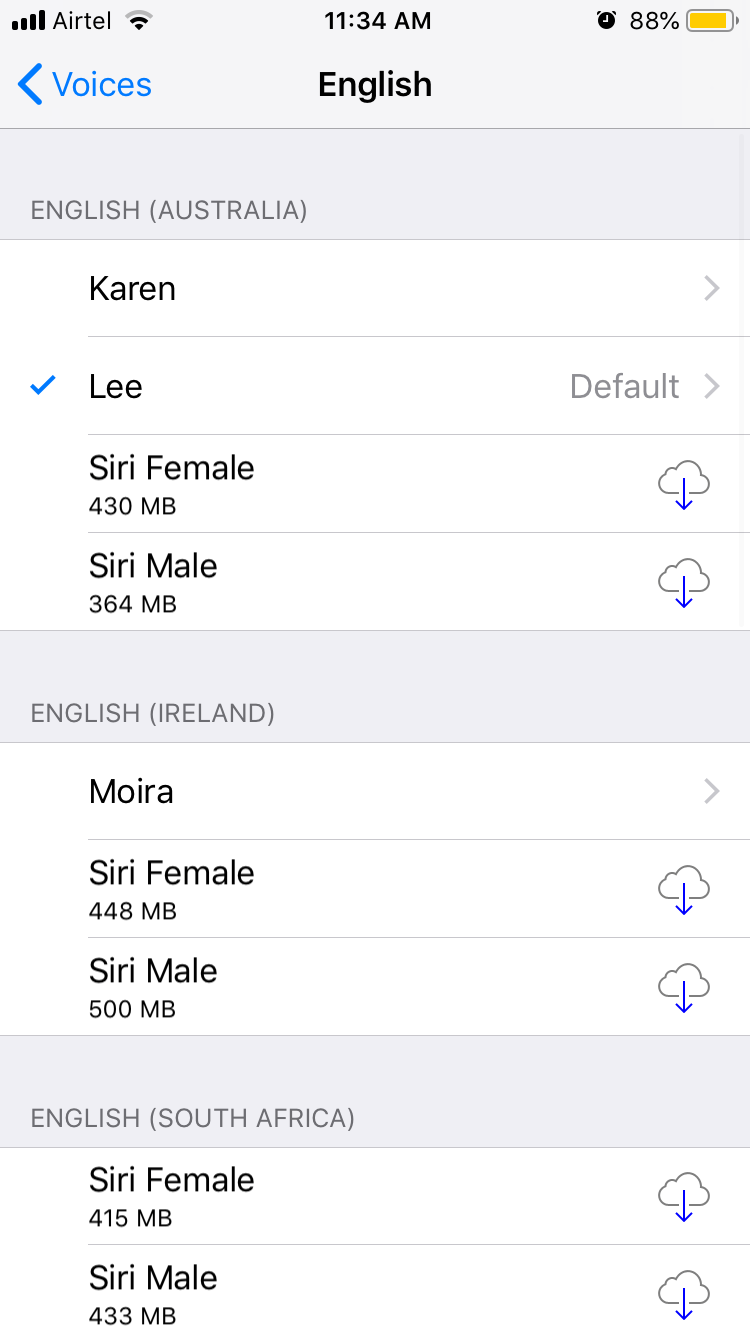 All English Language Voices on iOS 12