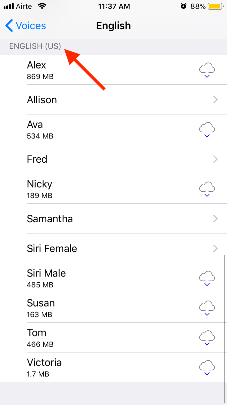 English US Language American Accent Voices on iOS 12 Including Male and Female Voices