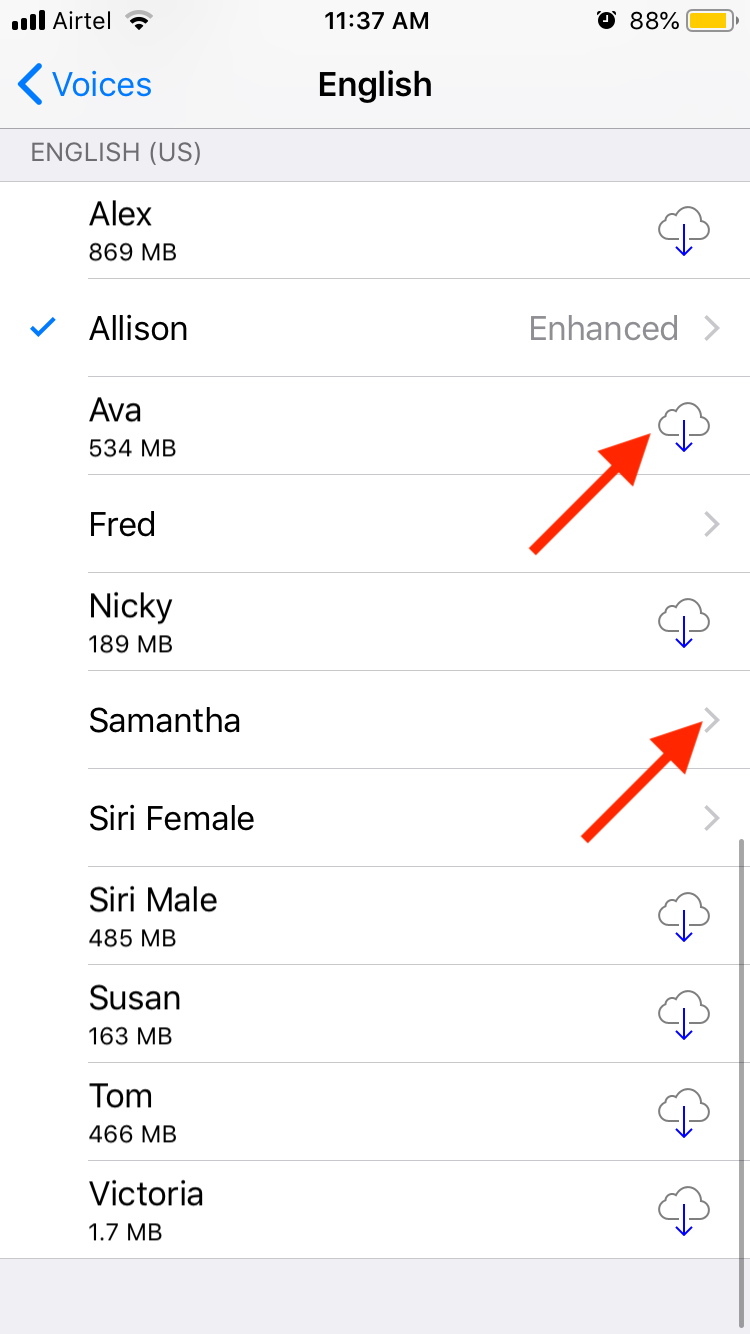 iOS Download Additional Voices and Select them